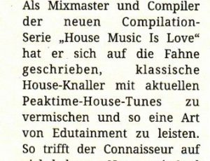 "House Music is Love Review,""Faze"" Magazine"